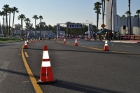 Coned off race area
